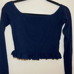 Cute Blue Ruffled Crop